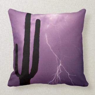 Purple lightning and cactus, AZ Cushion
