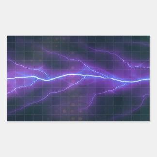 Purple Lightning Electricity Backdrop Rectangular Sticker