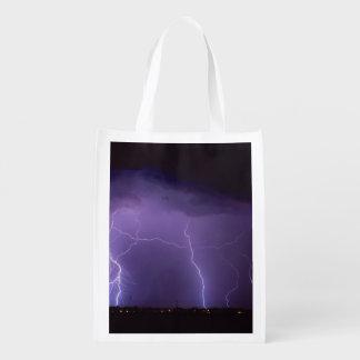 Purple Lightning in a Night Desert Thunder Storm