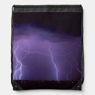 Purple Lightning in a Night Desert Thunder Storm Drawstring Backpack