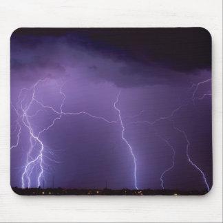 Purple Lightning in a Night Desert Thunder Storm Mouse Mat