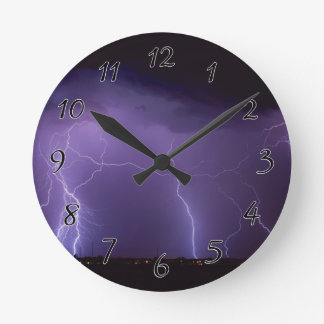 Purple Lightning in a Night Desert Thunder Storm Round Clock