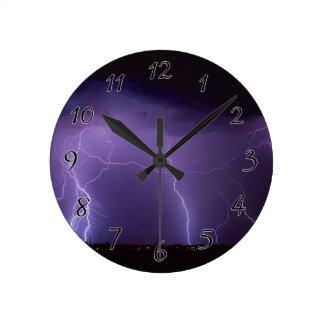Purple Lightning in a Night Desert Thunder Storm Wall Clock