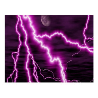 Purple lightning postcard
