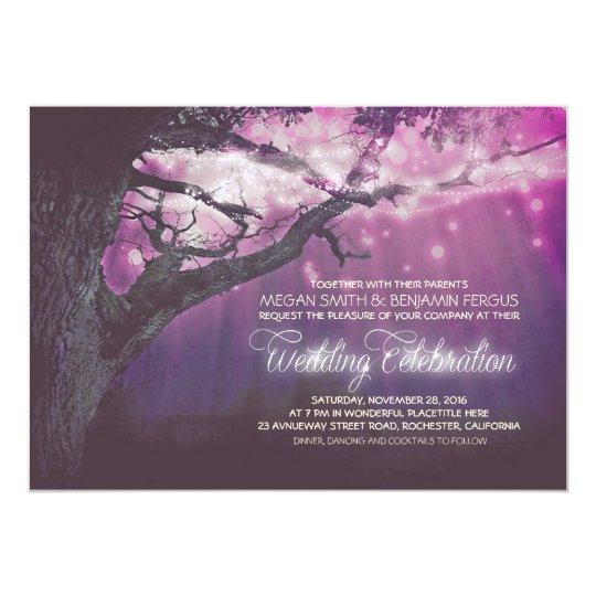 Purple Lights Tree Rustic Forest Wedding Invites