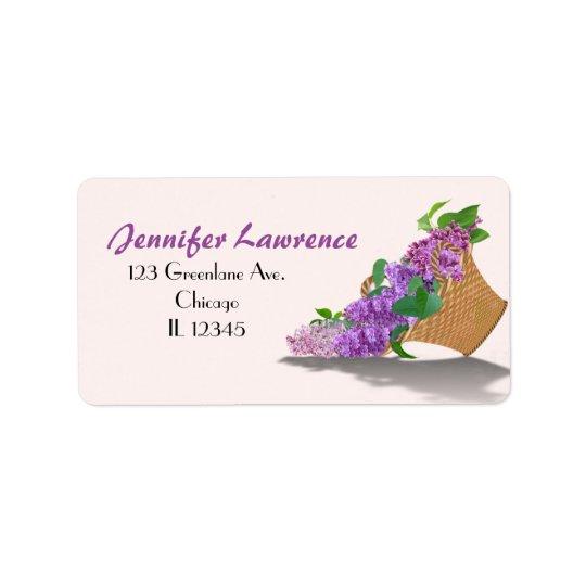 Purple Lilac Basket Address Labels | Customise
