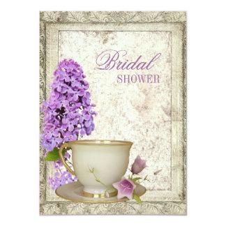 "purple lilac Bridal Shower Tea Party Invitation 4.5"" X 6.25"" Invitation Card"