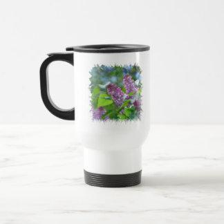 Purple Lilac Flowers Plastic Travel Mug