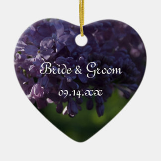 Purple Lilac Flowers Wedding Christmas Ornament