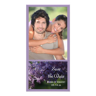 Purple Lilac Flowers Wedding Save the Date Personalised Photo Card