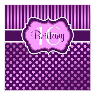Purple, Lilac Polka Dots Sixteenth Birthday Invite