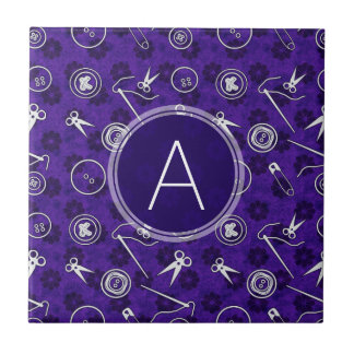 Purple Lilac Sewing Pattern with Monogram Tile