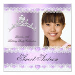 Purple Lilac Tiara Sweet Sixteen 16 Birthday Party Personalised Announcement