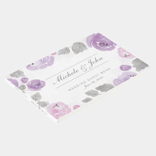 Purple Lilac Watercolor Roses Wedding Guest Book