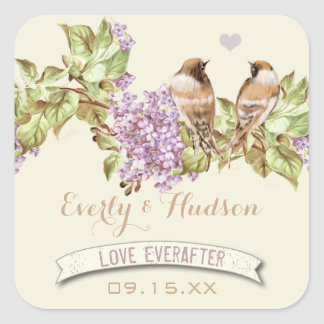 Purple Lilac Wedding Square Sticker