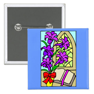 Purple Lillies For Easter 15 Cm Square Badge