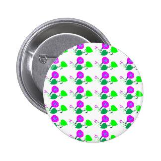 Purple Lilly Flower n Leaf 6 Cm Round Badge