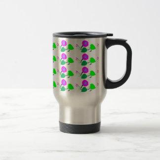 Purple Lilly Flower n Leaf Stainless Steel Travel Mug