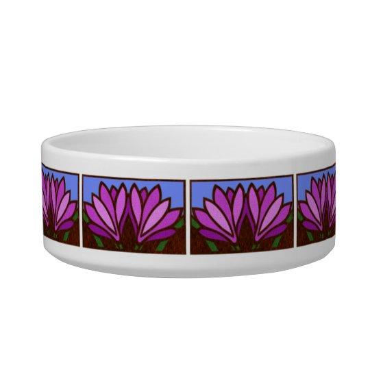 Purple Lily Flower Pattern Ceramic Small Dog Dish