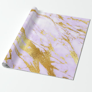Purple Lily Gold Pastel White Marble Shiny Glam Wrapping Paper