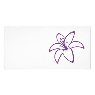 Purple Lily Customized Photo Card