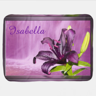 Purple Lily with Waterfall Baby Blanket
