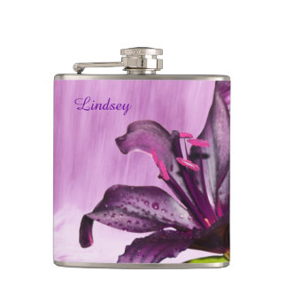 Purple Lily with Waterfall Hip Flask