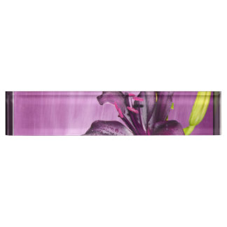 Purple Lily with Waterfall Nameplate