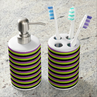 Purple, Lime Green and Black Stripes Bathroom Set