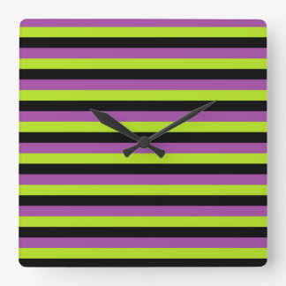 Purple Lime Green and Black Stripes Clocks