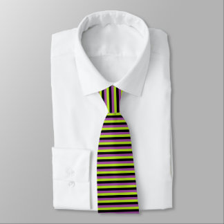 Purple, Lime Green and Black Stripes Tie