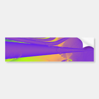 Purple, Lime Green and Orange Fractal Design. Bumper Sticker
