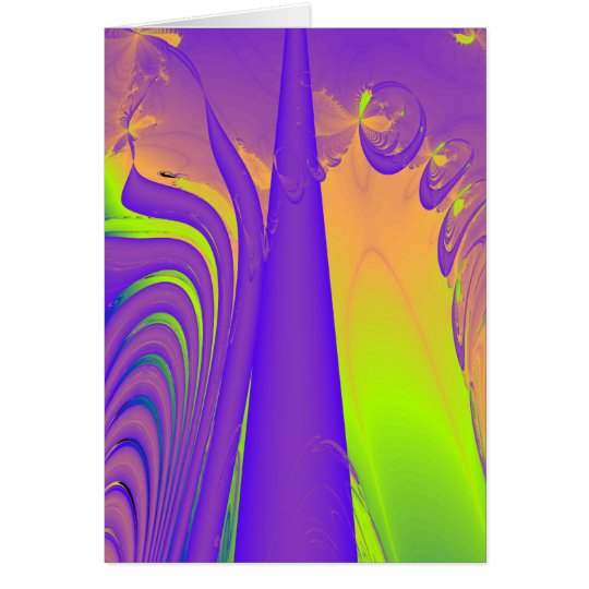 Purple, Lime Green and Orange Fractal Design. Card