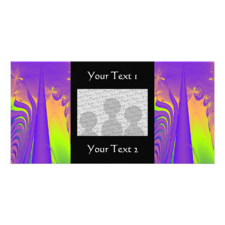 Purple, Lime Green and Orange Fractal Design. Photo Card
