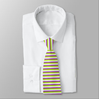 Purple, Lime Green and White Stripes Tie