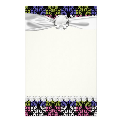 purple lime pink white black damask squares stationery paper