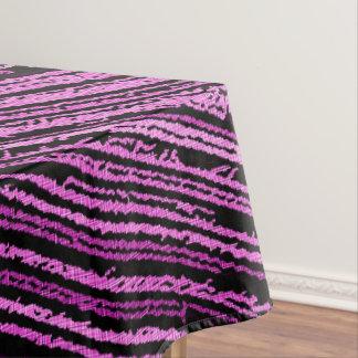 Purple line art, asymetric design, stripes pattern tablecloth
