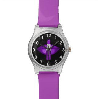 Purple Lips Lipstick Glitter Glamour Black Watch
