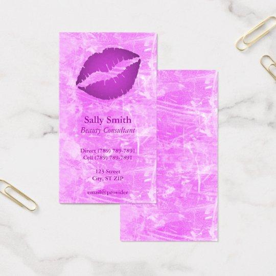 Purple Lips Pink Grunge Business Card
