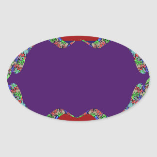 Purple LIPS: Space to add text Greeting Name Bless Oval Stickers