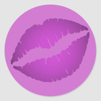 Purple Lipstick Classic Round Sticker