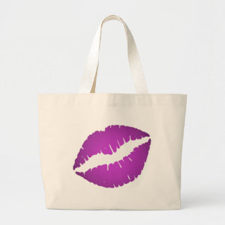 Purple Lipstick Large Tote Bag