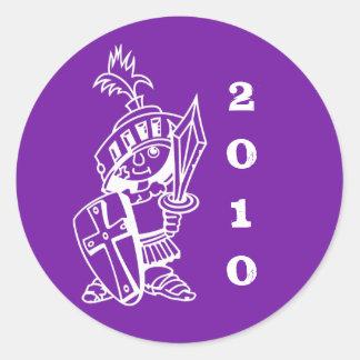 purple, little crusader 2010 round sticker