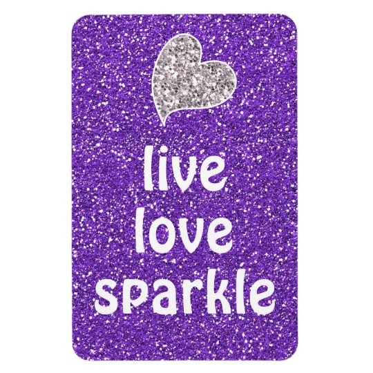 Purple Live Love Sparkle Quote Rectangular Photo Magnet