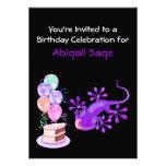 Purple Lizard Birthday Party Invitation