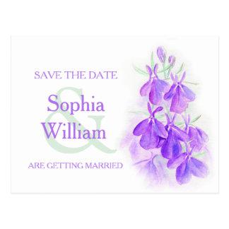 purple lobelia save the date postcard
