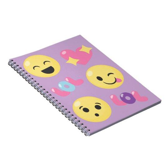 Purple LOL Emoji Fun Spiral Notebook