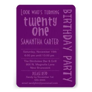 Purple Look Who s Turning 21 Birthday Invitation