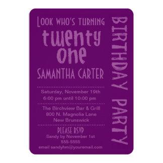 "Purple Look Who's Turning 21 Birthday Invitation 5"" X 7"" Invitation Card"