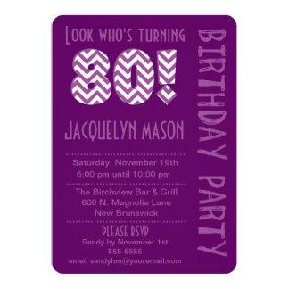 Purple Look Who's Turning 80 Birthday Invitation